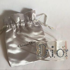 Christian DIOR Lucite Rhinestone Cuff Bracelet